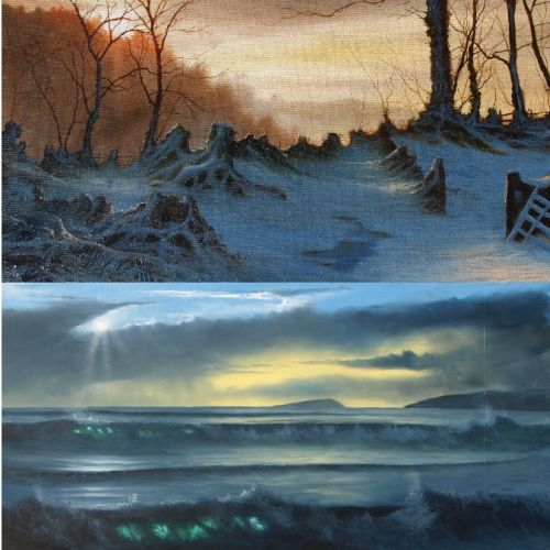 Sunrise and Sunset 2 Paintings