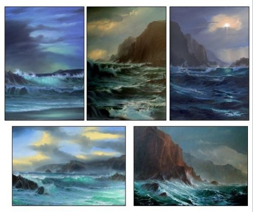SET OF 5 SIGNED SEASCAPE POSTCARDS