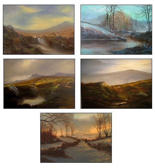 5 SIGNED  LANDSCAPE POSTCARDS